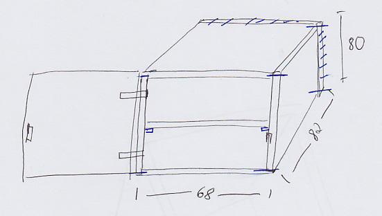 Skizze des Stoffschrankes