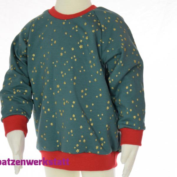 "Kinder- Pullover Raglanpullover ""Glitzersterne"""