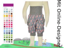 dreiviertel Hose paricot mit grauen Muster