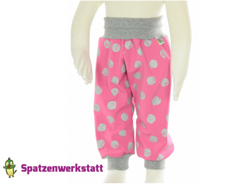 """Softshellhose """"pink"""" mit reflektierenden Kreisen"""