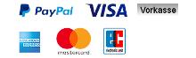 Zahlungsarten PayPal Kreditkarten Vorkasse