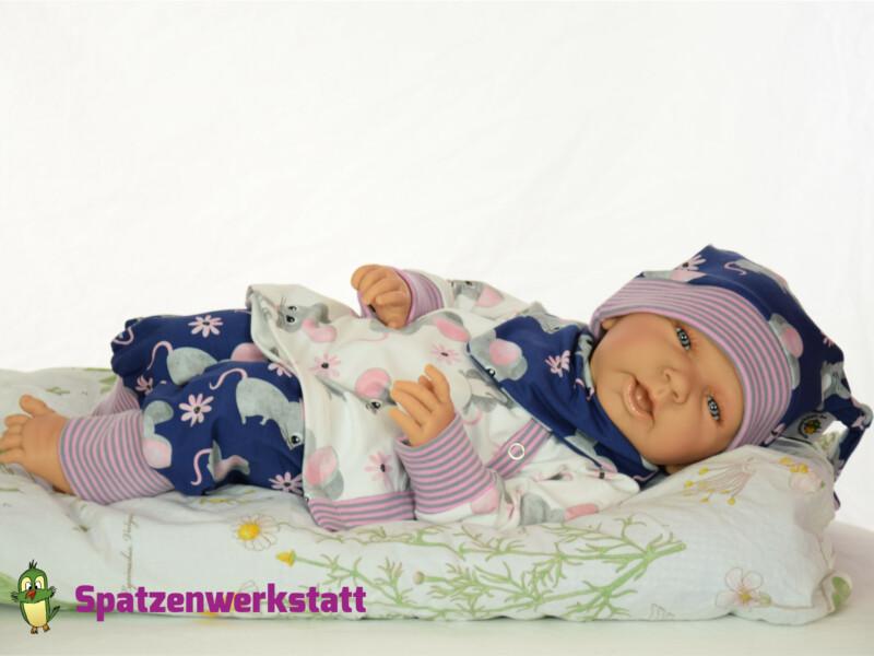 """Erstlings-Set Babyset mit Wickeljacke """"Mäuschen blau"""""""