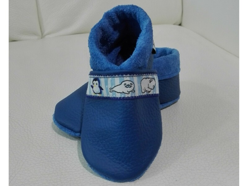 Krabbelschuhe Blau Pinguine