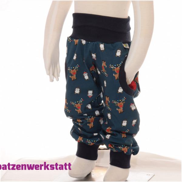 """Pumphose mit Taschen """"Rentier und Pinguin"""""""