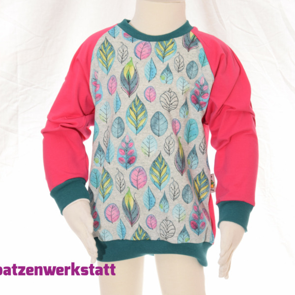 "Pullover ""Blätter Federn"" - Jersey mit Raglanärmeln"