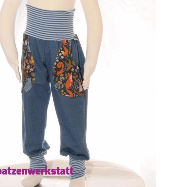 """Jeanshose mit Taschen """"Waldtiere bunt dunkelblau"""""""