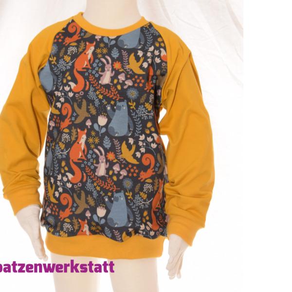 """Pullover """"Waldtiere bunt dunkelblau"""" - Jersey mit Raglanärmeln"""
