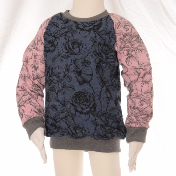 "Sweatpullover Raglanpullover ""Rose blau rosa"""